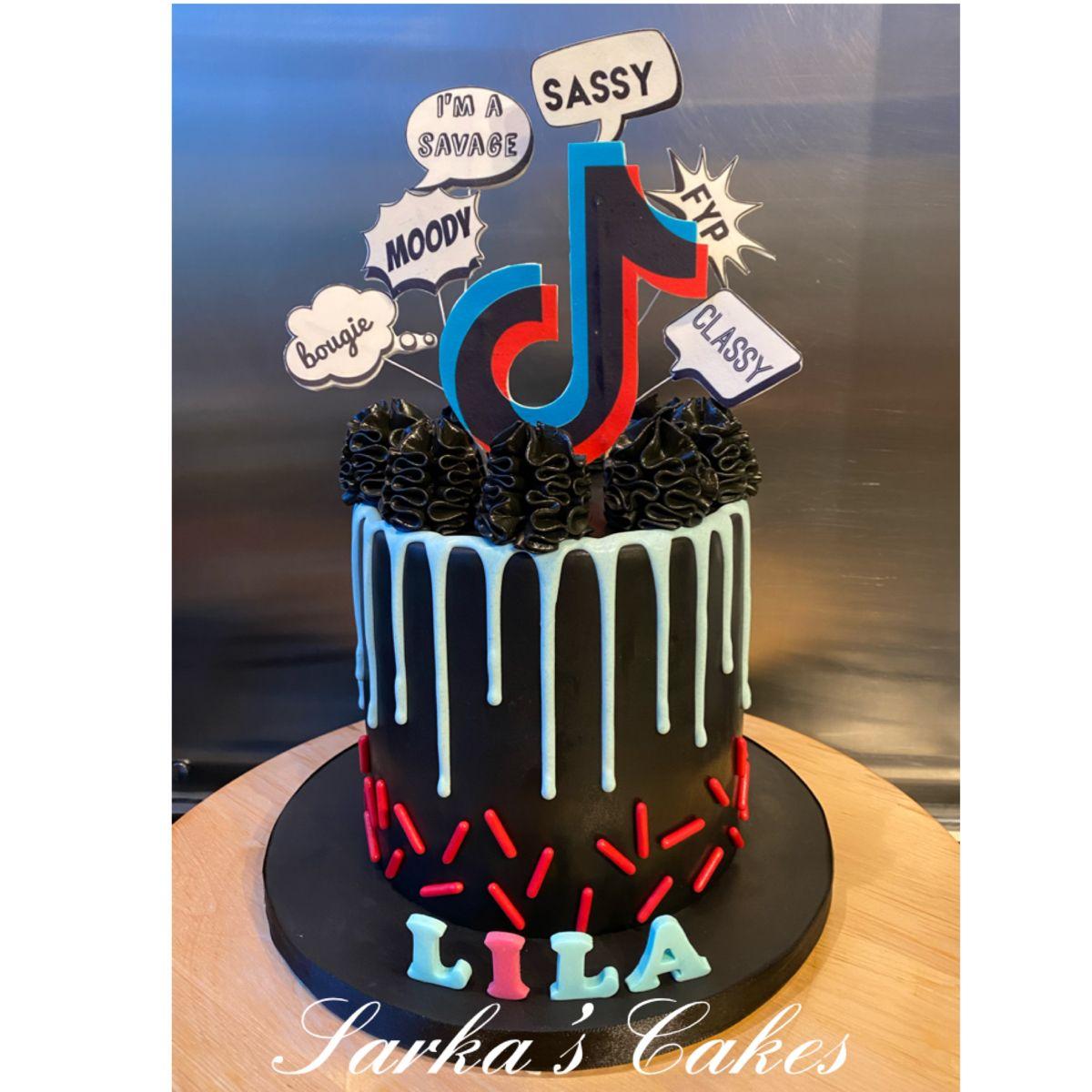 Tiktok Cake Cake Pretty Birthday Cakes Cool Birthday Cakes