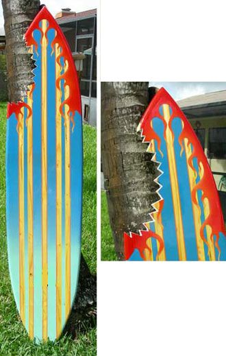 TIKI SOUL DECORATIVE SURFBOARD ART - Piranha Flame Surfboard decor ...