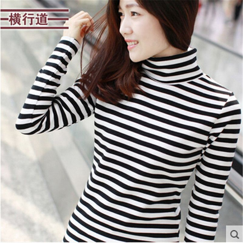 women long sleeve turtleneck t-shirt plus size striped female t