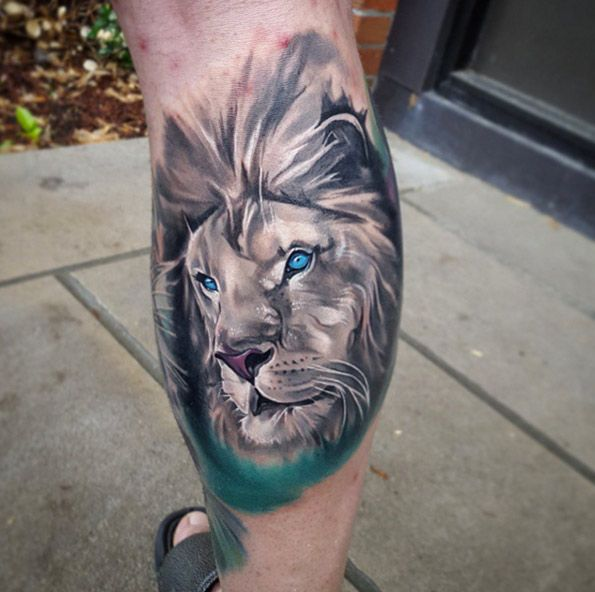 Blue Eyed Lion Tattoo By Tyler Malek Lion Tattoo Unique Animal Tattoos Animal Tattoo