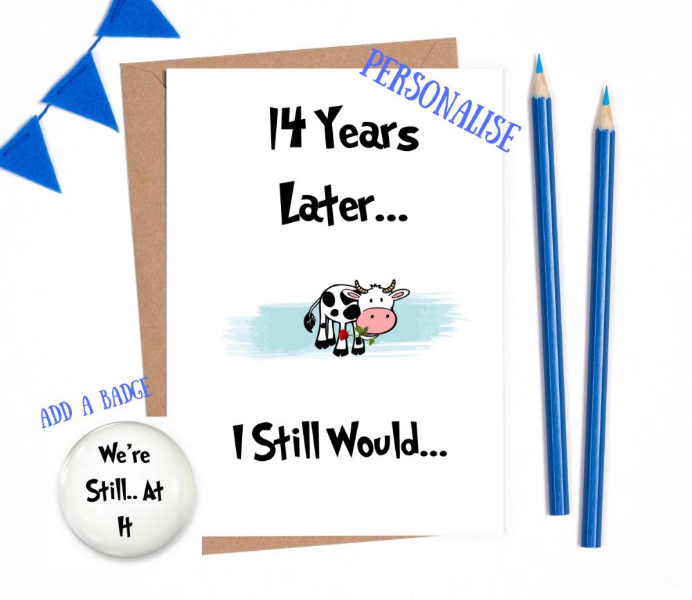 14th year anniversary card personalised wedding