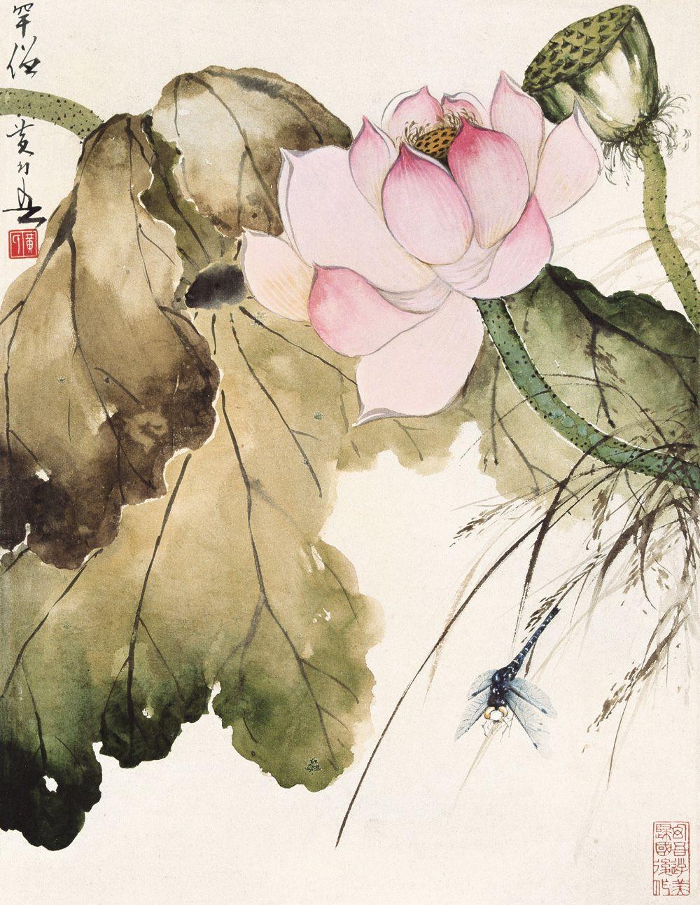 Masterhuanghuanwu Chineseinkpainting Sumielotus 筆 イラスト 蓮の花 中国の絵画