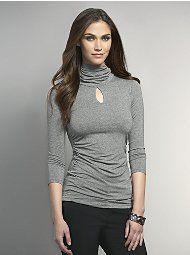 Three-Quarter Sleeve Heathered Keyhole Turtleneck with Shirring