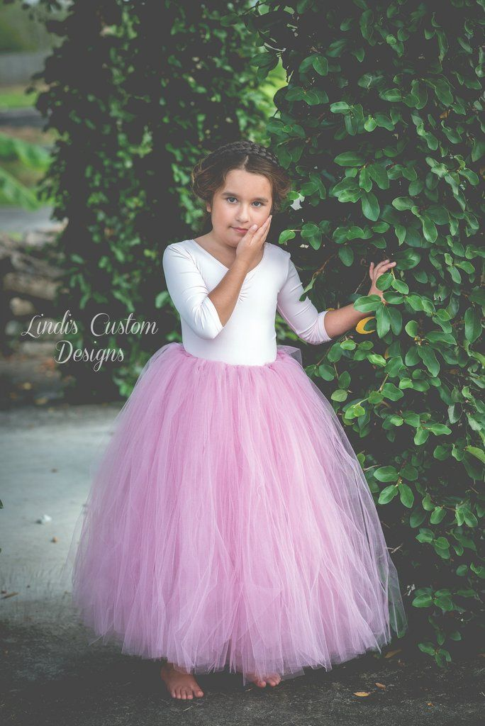 Rose Pink Flower Girl Tulle Tutu