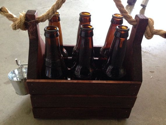 Wooden Beer Carrier   Crate With Rope Handle   Bottle Opener   Bottle Cap  Bucket On