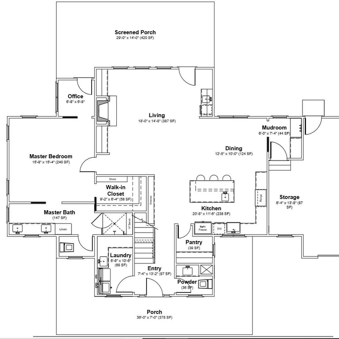 Four Gables Plan 1st And 2nd Floor Plan Modifications Added An Office Adjacent To Master Suite And Wet Bar I Gable House Farmhouse Floor Plans House Plans