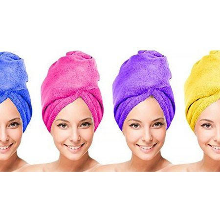 Women S Microfiber Hair Drying Wrap Towel Super Absorbent Fiber Fast Dry Twist Head Towel 4 Units Multicolor Twist Hairstyles Help Dry Hair Soft Hair