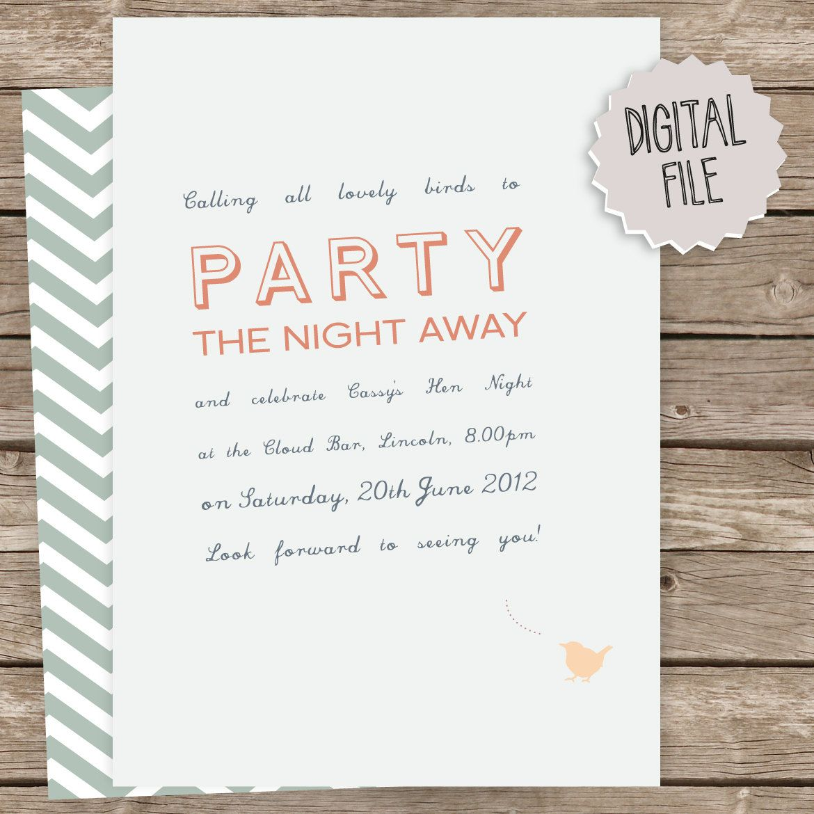 Hi Bird - DIY hen party invitation - blue peach bird chevron ...