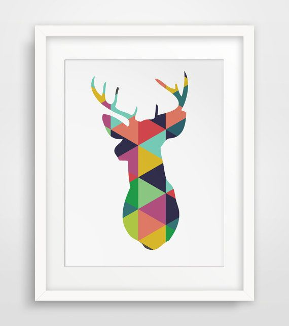 Deer Wall Art colorful geometric, colorful prints, colorful wall art, rainbow