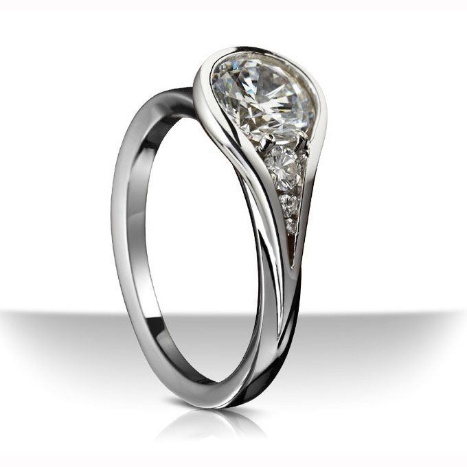 bridescom unique engagement ring settings platinum ring with tear drop motif accented - Contemporary Wedding Rings
