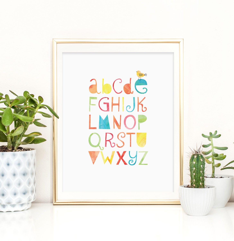 ABC Wall Art, Alphabet Poster, Alphabet Nursery Decor, ABC Poster,  Classroom Printable, Instant Download, Bright Colored Nursery Art