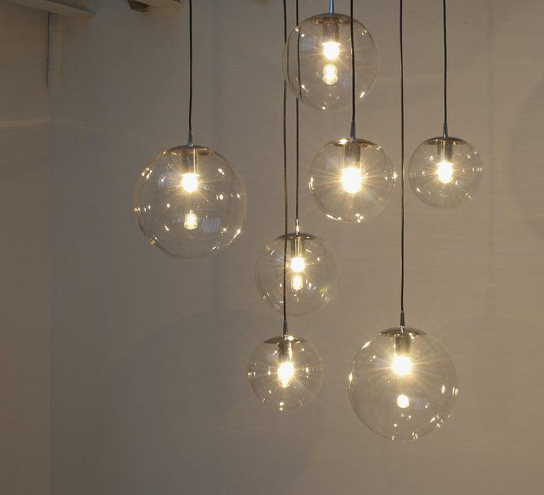 Large Glass Bulb Chandelier With 7 Bulbs Chrome Details 1stdibs Com Glass Bulbs Cool Light Fixtures Chandelier