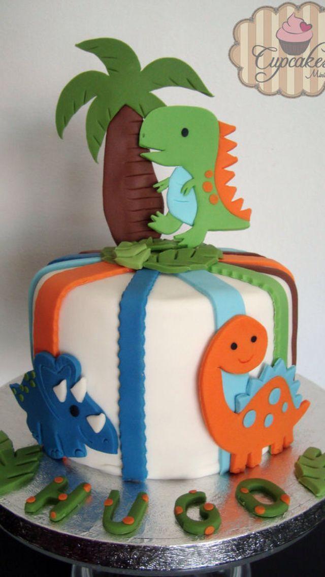 Creativa idea de pastel de dinosaurios para ni os fiesta - Bizcocho cumpleanos para ninos ...