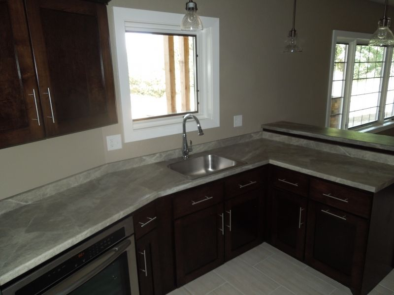 We used Formica 180fx Soapstone Sequoia laminate on this ...