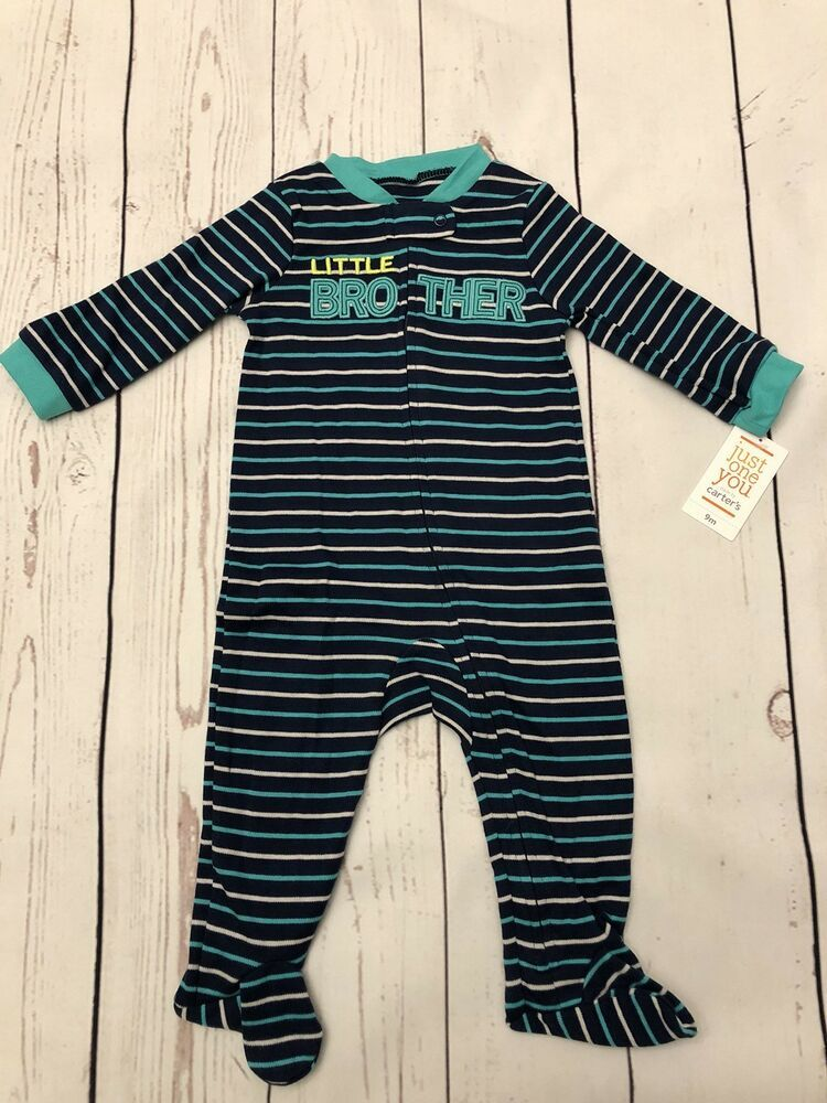 Just One You Carter/'s Boy/'s Little Brother Striped Sleeper Blue size 9M New