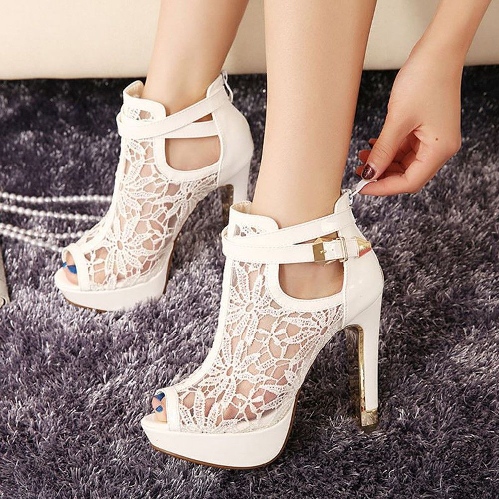 1ad851b17 Women Lace Booties Flowers Open Toes Prom Party High Heels Ankle Boots  Fashion Sandals, White