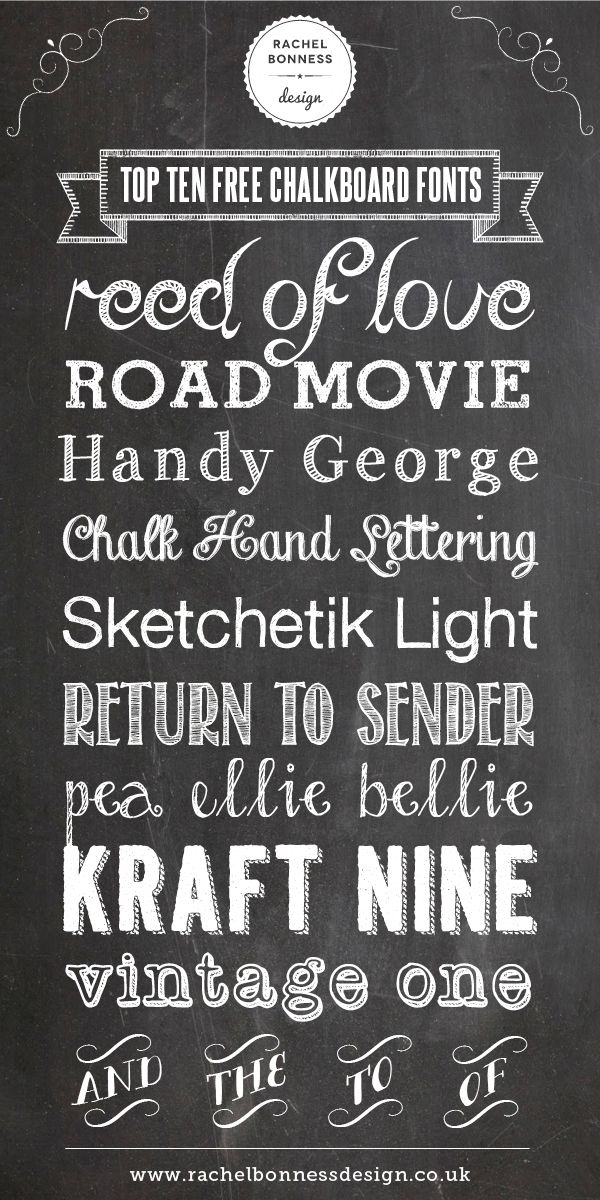 My Top Ten Free Chalkboard Fonts I designed for my blog