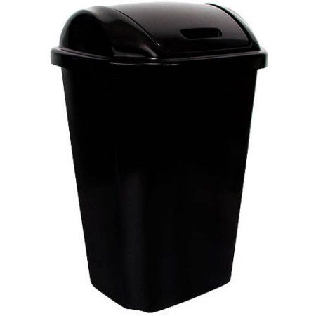 Walmart Outdoor Trash Cans Hefty Swinglid 135Gallon Trash Can Black  Walmart  My