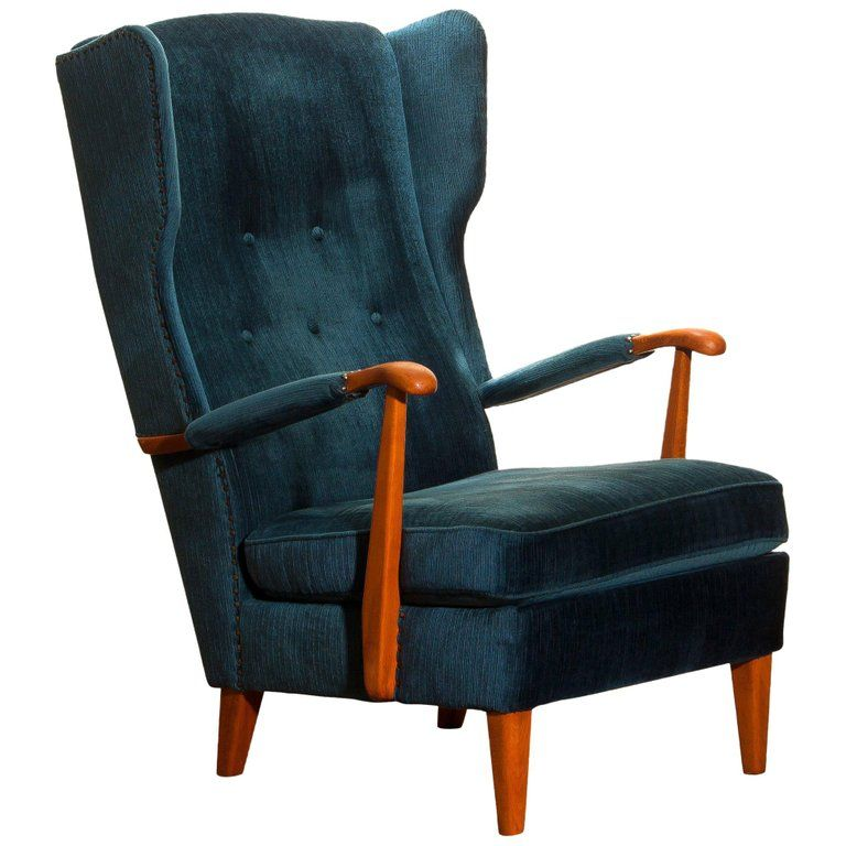 Knolls Moderna Fatoljer Lounge Chair 1940s Wingback Model 77