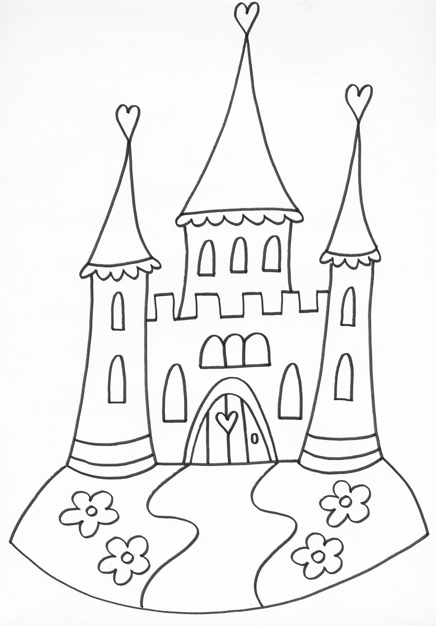 Ausmalbild Prinzessin Einhorn Schloss   Amorphi