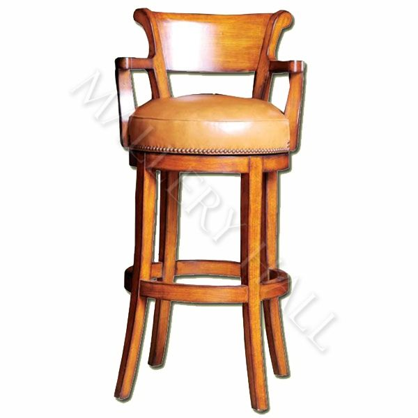 Unique Bar Furniture: Custom-made Bar Stool Framed In Wood With Comfortable