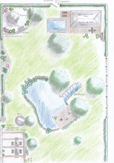 gartenplan mit pool, gartenplan - teich, pool, häuschen   gartenpläne   pinterest, Design ideen