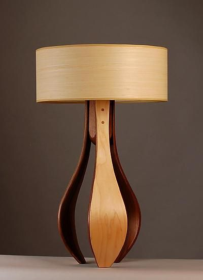Chloe In Maple And Walnut With Maple Shade Wood Table Lamp