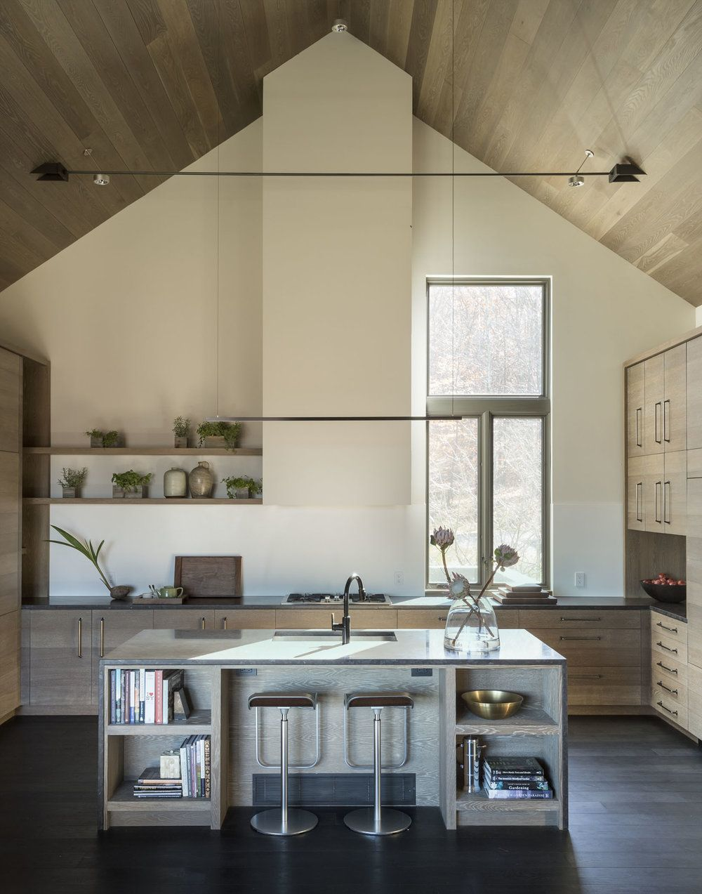 Wood Ceiling Vaulted Ceiling In The Kitchen Lovely Warm Tones White Oak Wood Cabinetry Marti Kitchen Ceiling Vaulted Ceiling Kitchen Wood Plank Ceiling