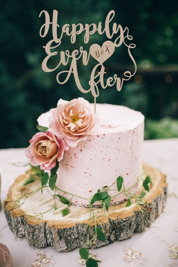 Happily Ever After Wedding Cake Topper Personalized Wood Wedding
