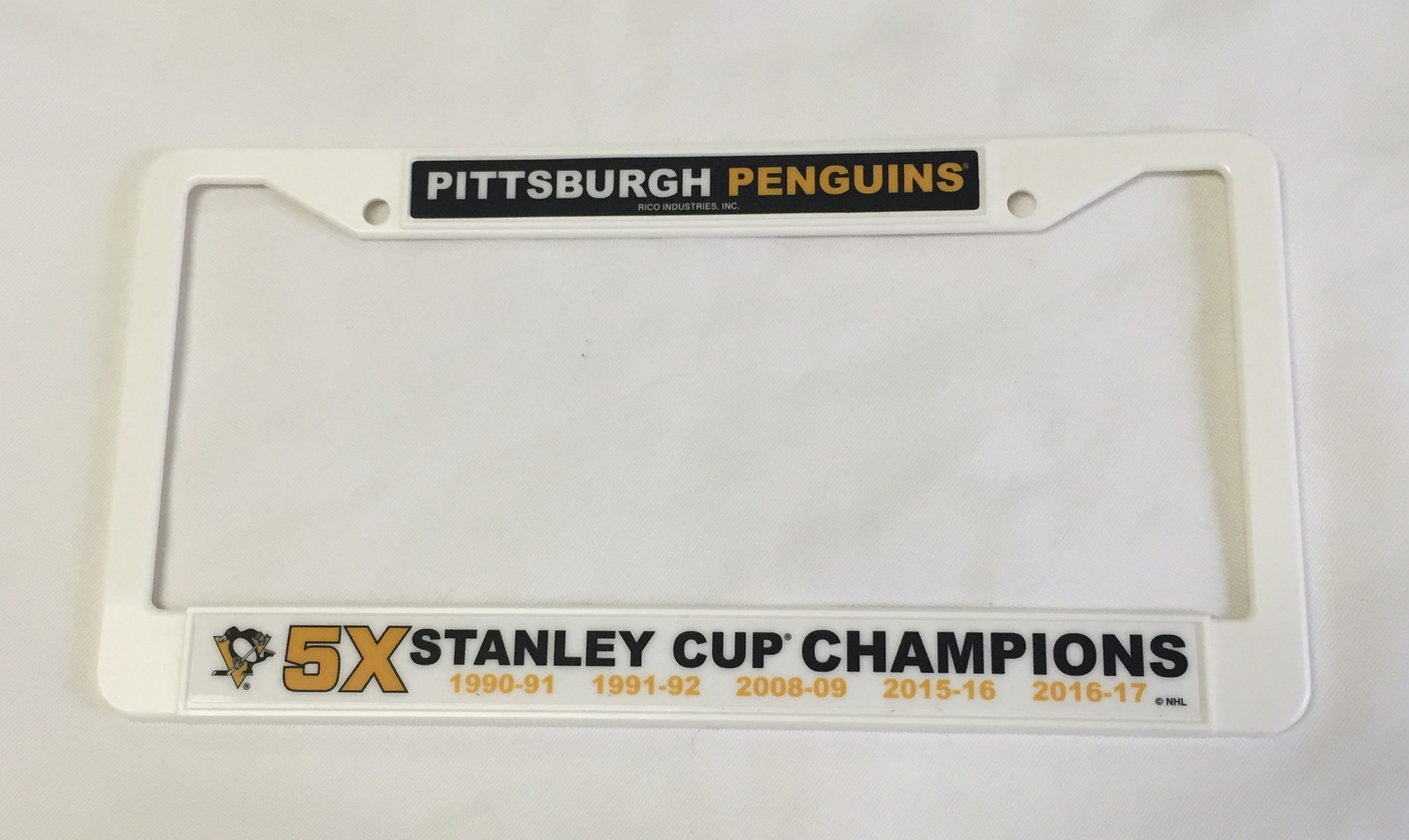 Pittsburgh Penguins 5X Stanley Cup Champions White Plastic License ...