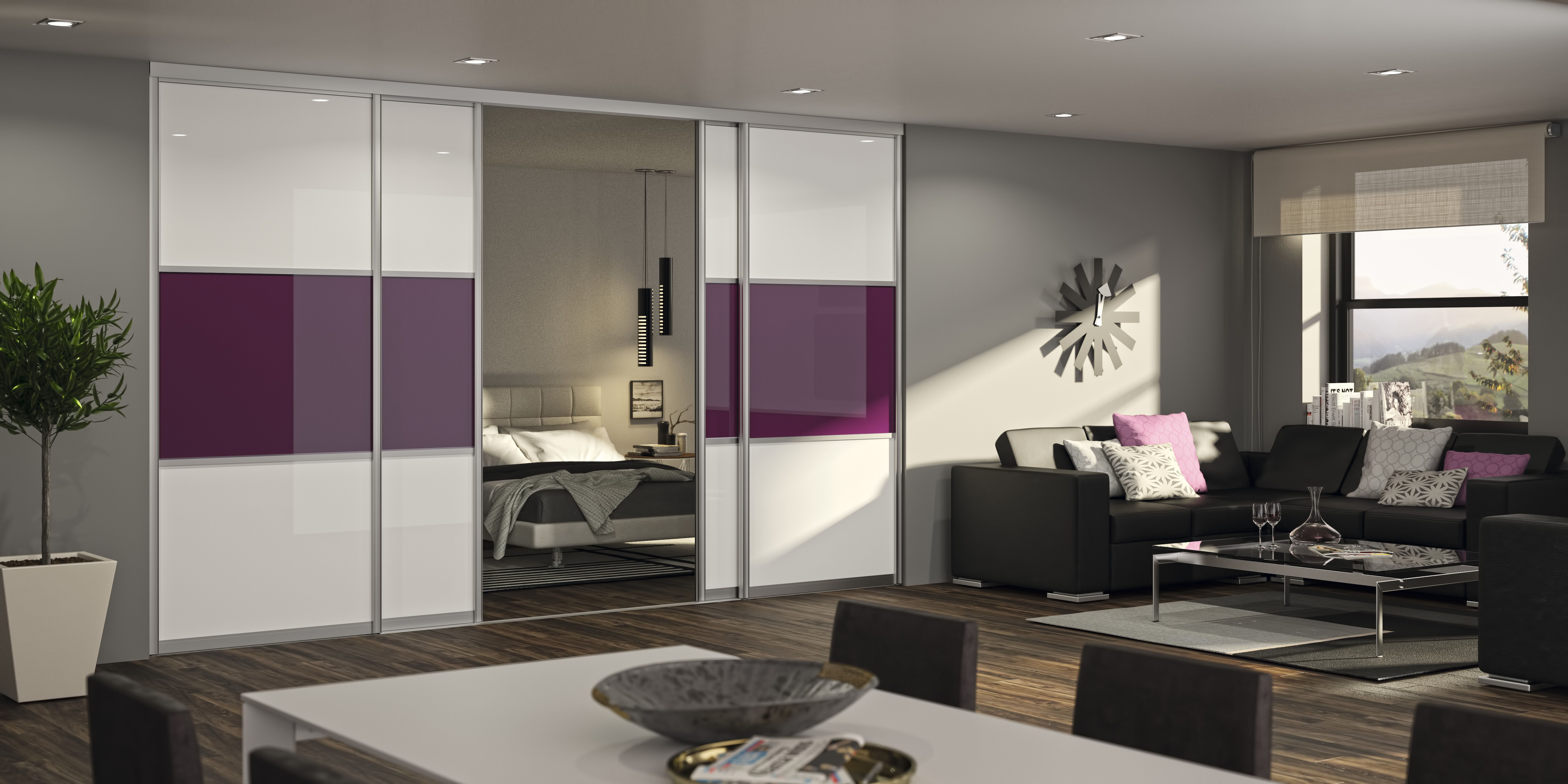 Eine Schiebetür Kann Dein Schlafzimmer Wunderbar Vom Wohnzimmer Abgrenzen.  Mit Farbigen Sprossen Kannst Du Zusätzlich