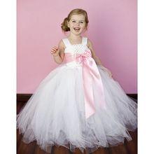 Branco Da Menina de Flor Vestido Tutu Para O Aniversário Festa de Casamento