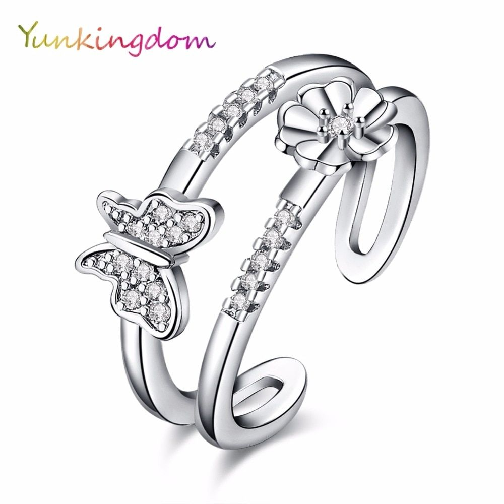 Yunkingdom Anniversary Party Rings Series Elegant Butterfly Flower