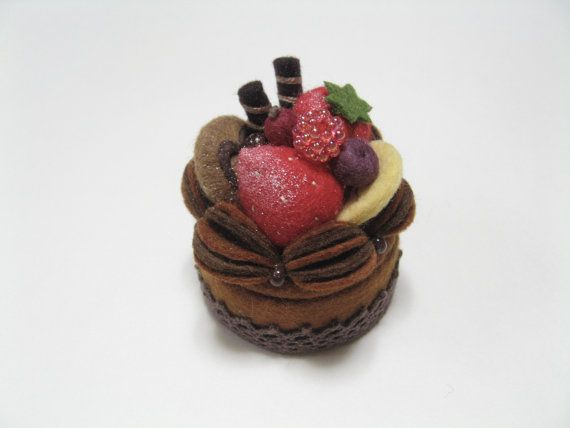 Felt Trinket Box - Keepsake Box - Jewelry Box - Felt Chocolate Cake Box - Wedding Ring Box. $22.00, via Etsy.