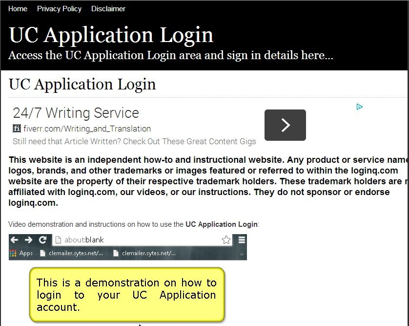 Secure Login Access The Uc Application Login Here Secure User Login To Uc Application To Access The Secure Area For Uc Article Writing Login Page Name Logo