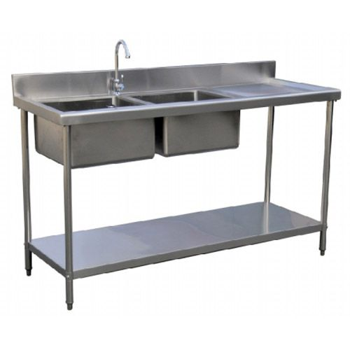 Superb Stainless Steel Double Bowl Sink Table Left / Right / Centre   Kitchentech  Commercial Supply