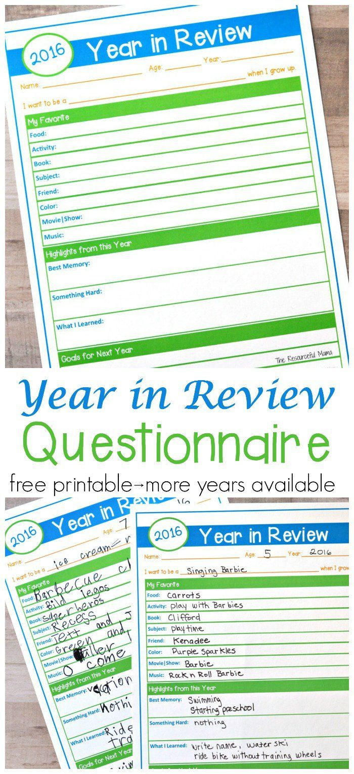 Year in Review Questionnaire {Free Printable | Free printable, Goal ...