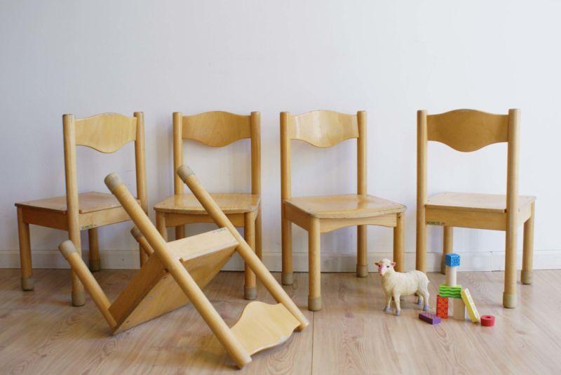 Betere 5 houten vintage stoeltjes van Schilte. Retro kinderstoel KP-66