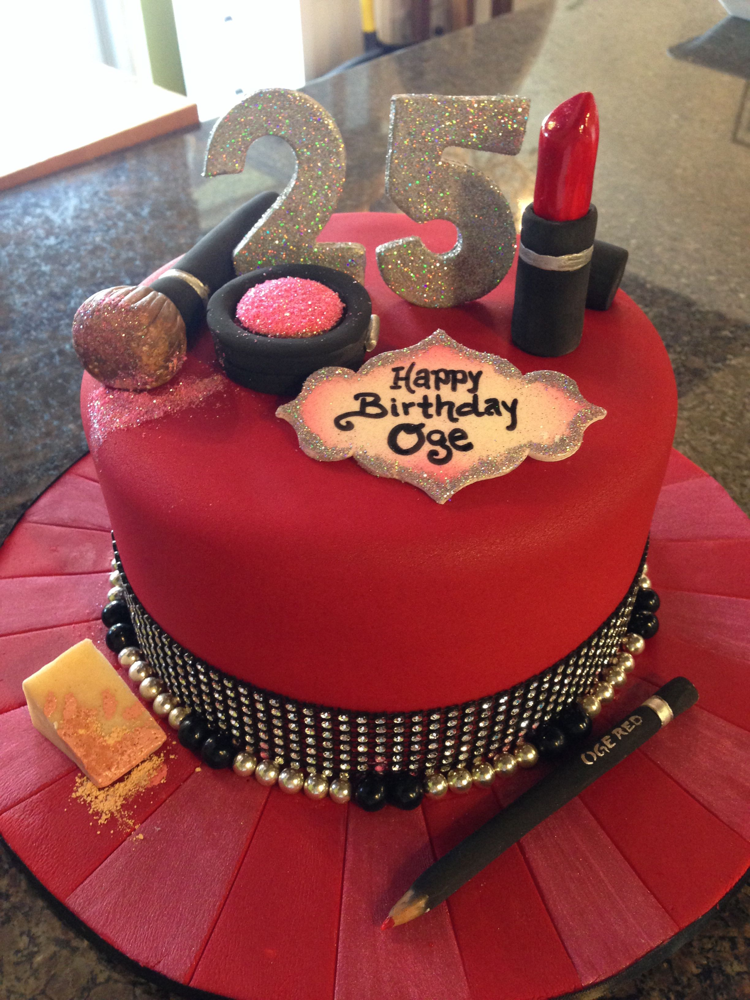 Make- & Beauty Themed Birthday Cake - Cakestar.ca 30th In 2019 Makeup Cakes