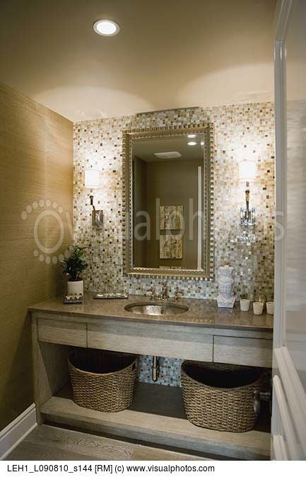 Mosaic Tile Wall Behind Bathroom Sink Wall Sconces Bedroom