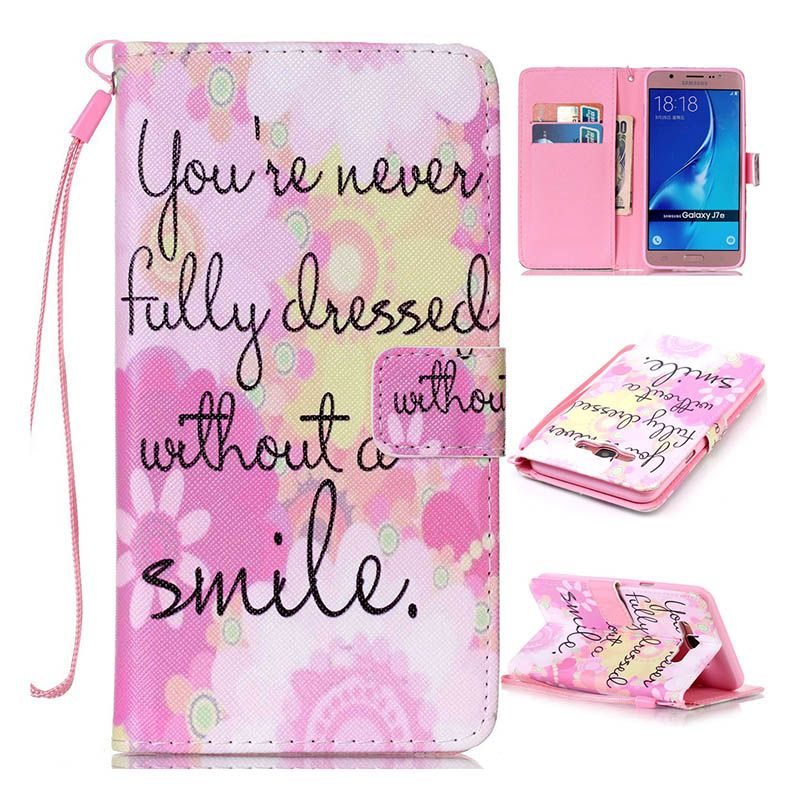 For Coque Samsung Galaxy J7 2016 Case Painting Leather Wallet & Flip Mobile Phone Bags & Cases For Samsung Galaxy J7 2016 J710