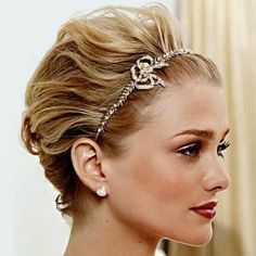Pin By Rebecca Eborn On Wedding Ideas Short Hair Up Headband Hairstyles Short Hair Updo