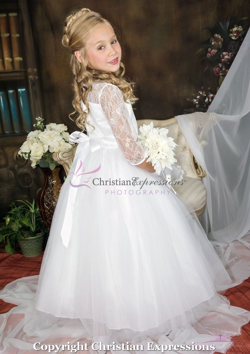 First communion dress with lace bodice three quarter sleeves