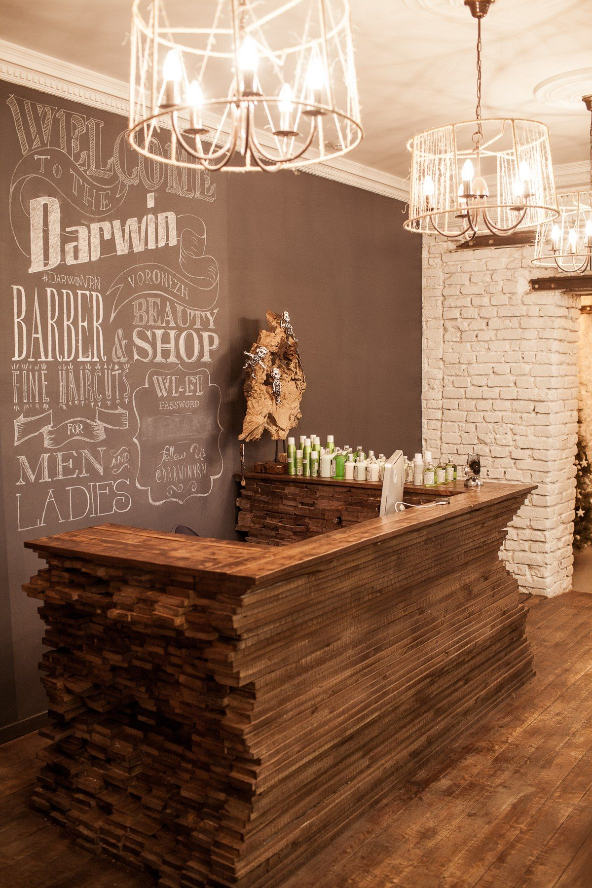 Loft Interior Barbershop Beautyshop Style Haircuts Wood