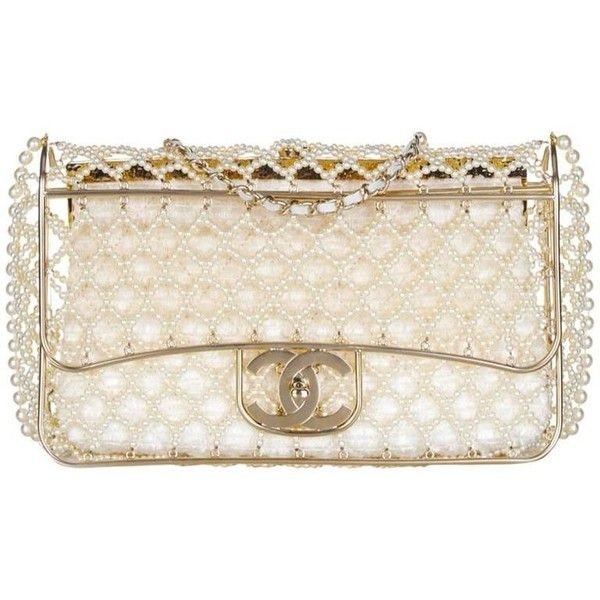 008003634f2c18 Chanel Pearl Classic Flap Bag ($54) ❤ liked on Polyvore featuring bags,  handbags, chanel, pink purse, pink bag, pearl bag and pearl purse