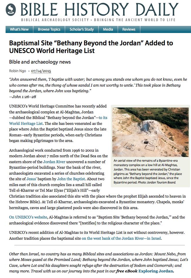 "402bf18e3e4ef8 Baptismal Site ""Bethany Beyond the Jordan"" Added to UNESCO World Heritage  List – Biblical Archaeology Society"