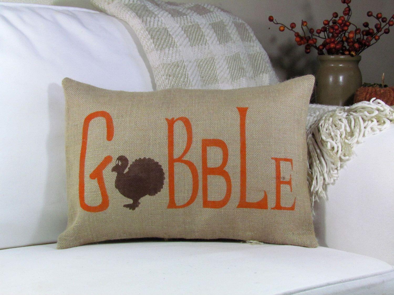 Fall Pillow, Thanksgiving Pillow, Gobble Turkey Pillow, Throw ...