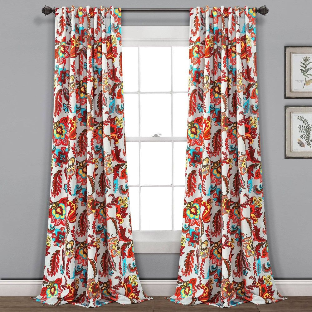 Set Of 2 38 X84 Zara Jacobean Insulated Gromment Blackout Window Curtain Panels Gray Multi Lush Decor Size 38 X84 In 2020 Panel Curtains Curtains Window Curtains