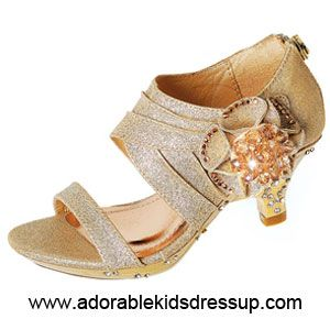 d1485464400 A most elegant style of kids high heels shoes in gold glitter with a ...