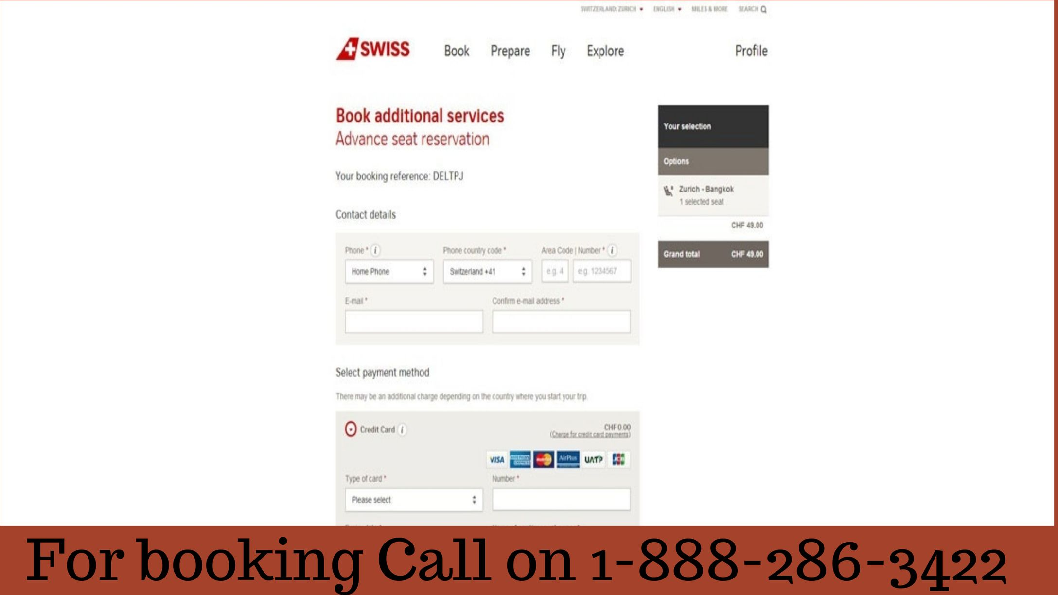Swiss airlines manage booking 1888 286 3422